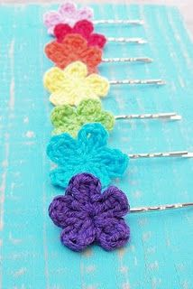 Summer Rainbow--crochet flowers on bobby pins