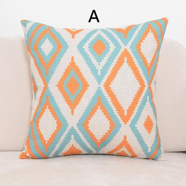 Blue and orange geometric pillows for couch minimalist style sofa