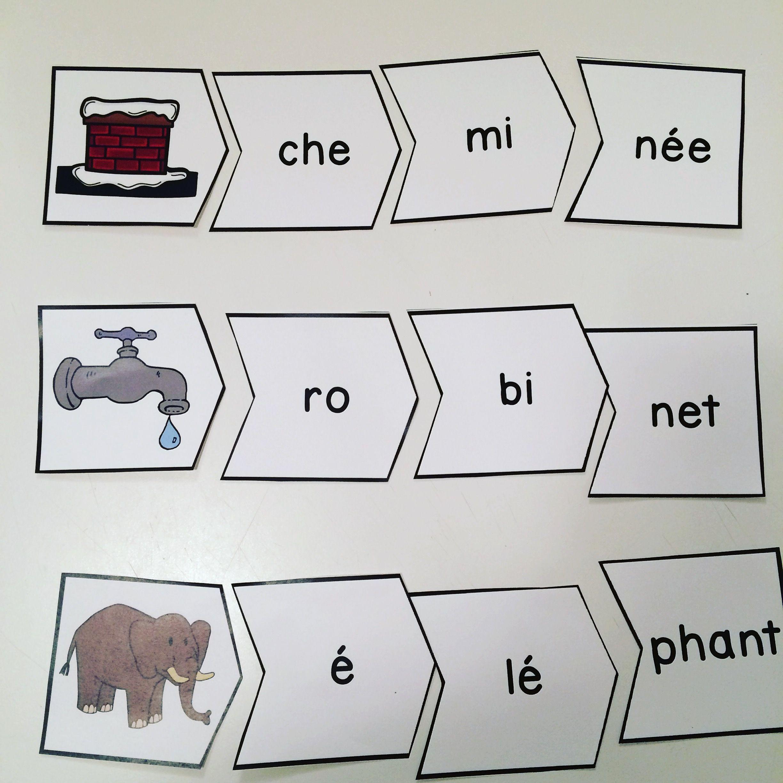 Casse t te sur les mots trois syllabes jeu tr s amusant dans les centres de litt ratie - Couper les mots en syllabes ...