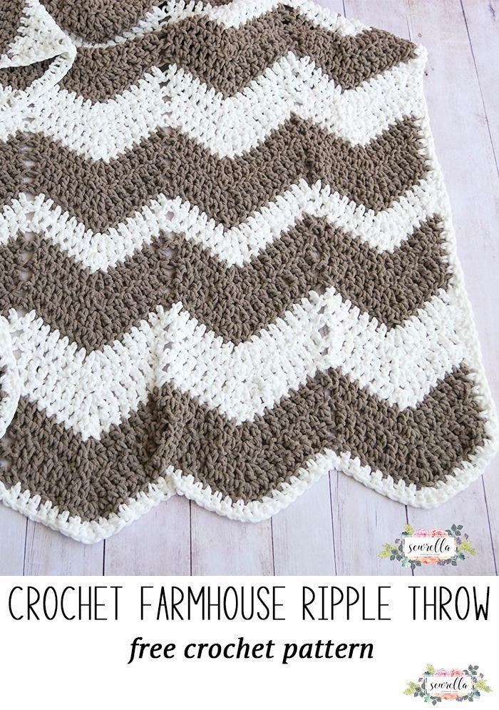Farmhouse Ripple Throw   crochet   Pinterest   Bolsos y Puntos