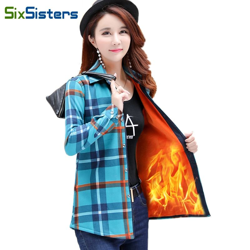 52ffded7790 Velvet Thick Warm Women Plaid Shirt Female Tops Plus Size M-XXXL Women s  Coat Winter Slim Blusas Femininas Chemise Femme HS1836.