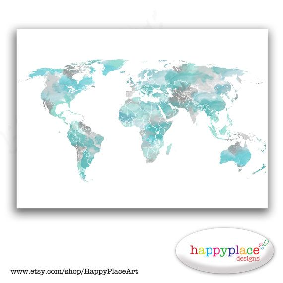 Aqua large travel world map digital printable map with watercolor aqua large travel world map digital printable map with watercolor texture choice of colors text size great travel map or heart map gumiabroncs Image collections