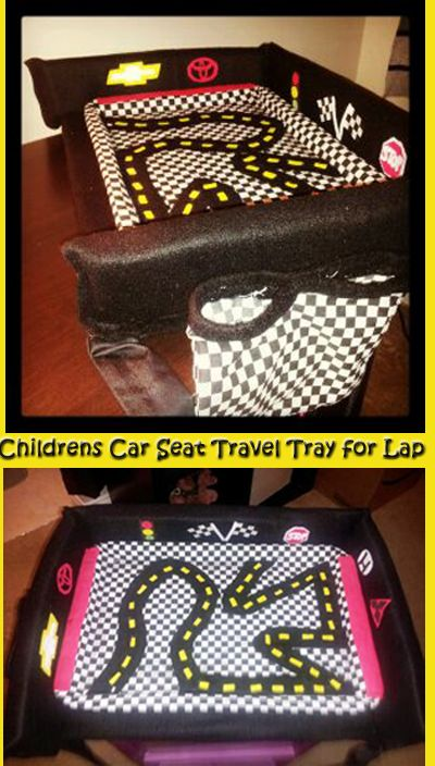 DIY Toddler Kids Car Seat Tray For Travel Fits On Lap Simply Made From Cookie Sheet And Old Chair Cushion