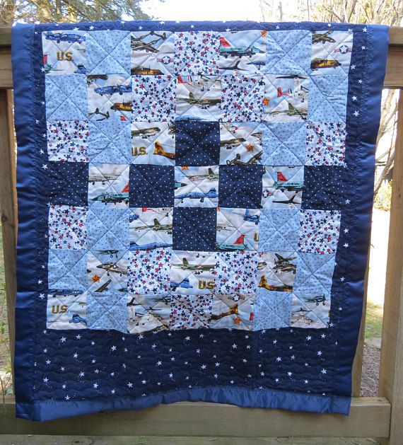 Handmade Baby Quilt/ Baby Boy Quilt/ Baby Quilt Handmade/ US Navy/ US Air Force/ Patchwork Quilt/ Navy Quilt/ Handmade Quilts by QuiltsbyHTH on Etsy