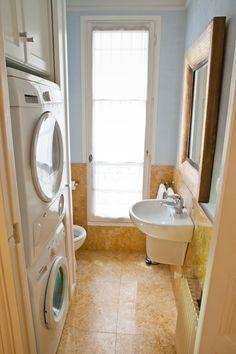 Stackable Washer Dryer In Half Bath Google Search Laundry Room Bathroom Small Half Bathrooms Laundry In Bathroom