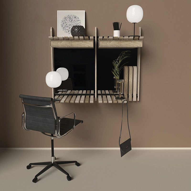 This Wall Of Shelves Can Easily Change To Hold A Variety Of Different Items Shelves Modern Wall Desk Modular Furniture System