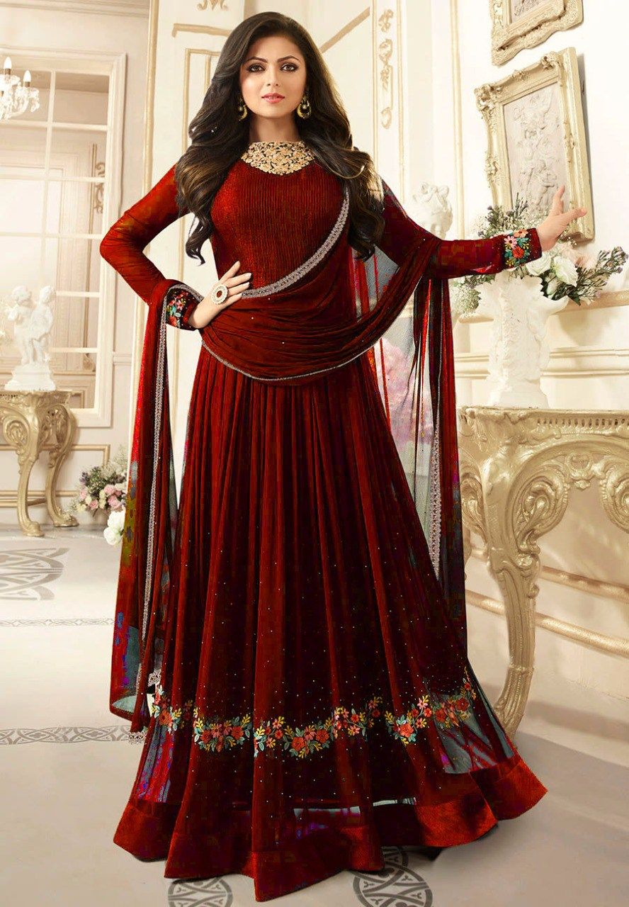 bbf2231d8eee Famina creation Drashti Dhami Net Red Embroidered Semi Stitched Anarkali  Suit - DSCH33
