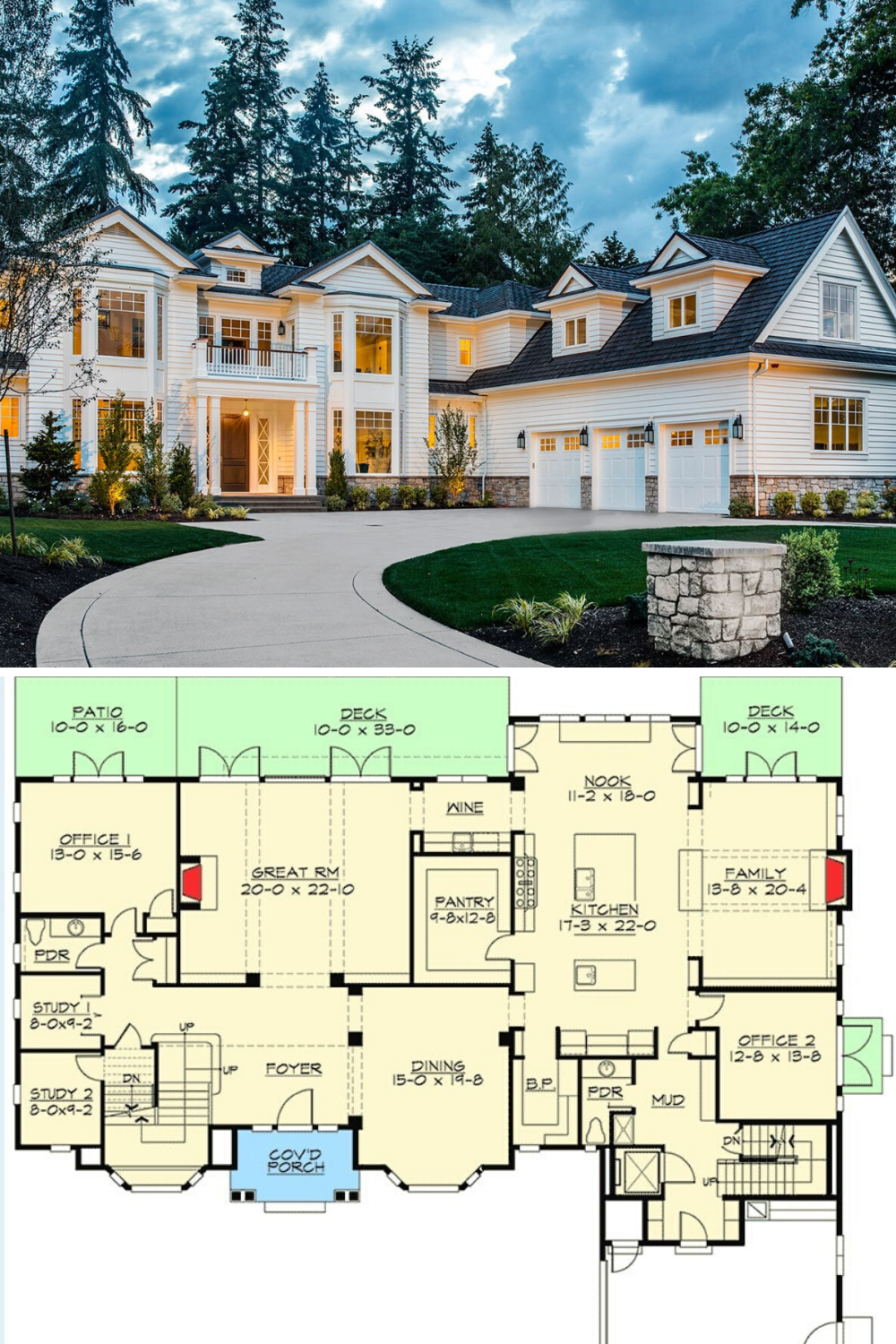 Two Story 5 Bedroom Traditional Colonial Home Floor Plan