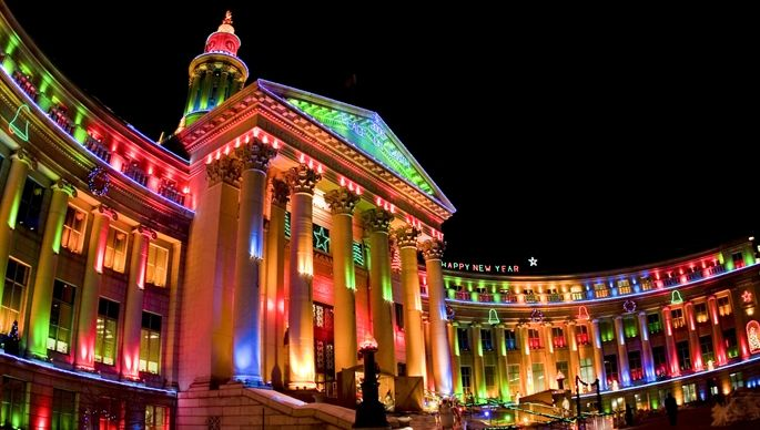 Denver Colorado Civic Center At Christmas