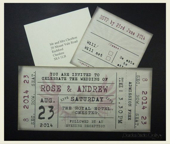 Ticket Style Wedding Invitation Retro Wedding Invitation Rock Ticket Weddin