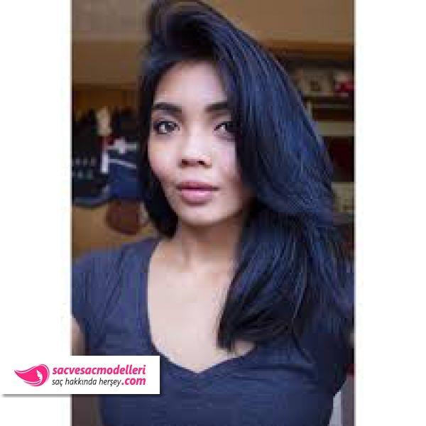 Mavi Siyah Sac Rengi Modelleri Hair Color For Black Hair Midnight Blue Hair Black Hair Dye
