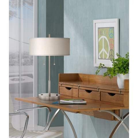 Nikola Metal Table Lamp With Usb Port And Utility Plug 7j478 Lamps Plus Metal Table Lamps Table Lamp Lamp