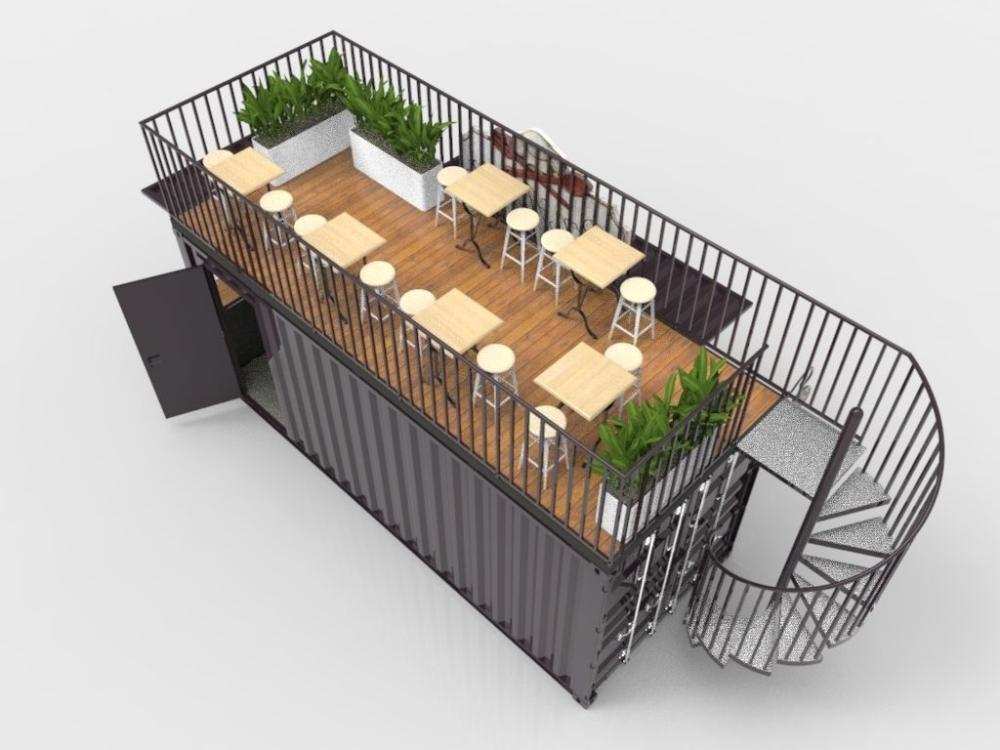 Contenedor Cafe Con Escalera De Caracol 3d Cgtrader Container Cafe Container Coffee Shop Container Bar