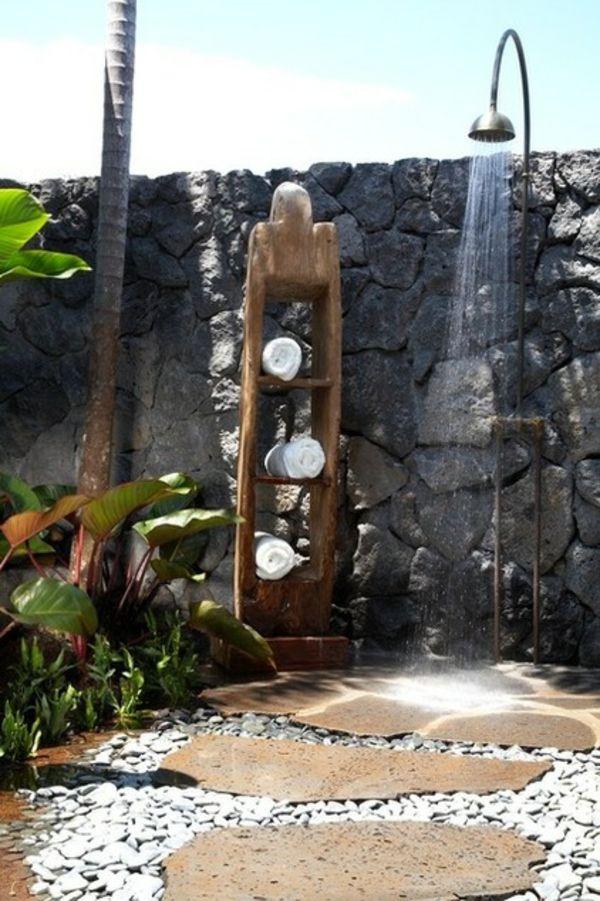 gartendusche ideen sichtschutz aus steinen zaun | beauty and the, Wohnideen design
