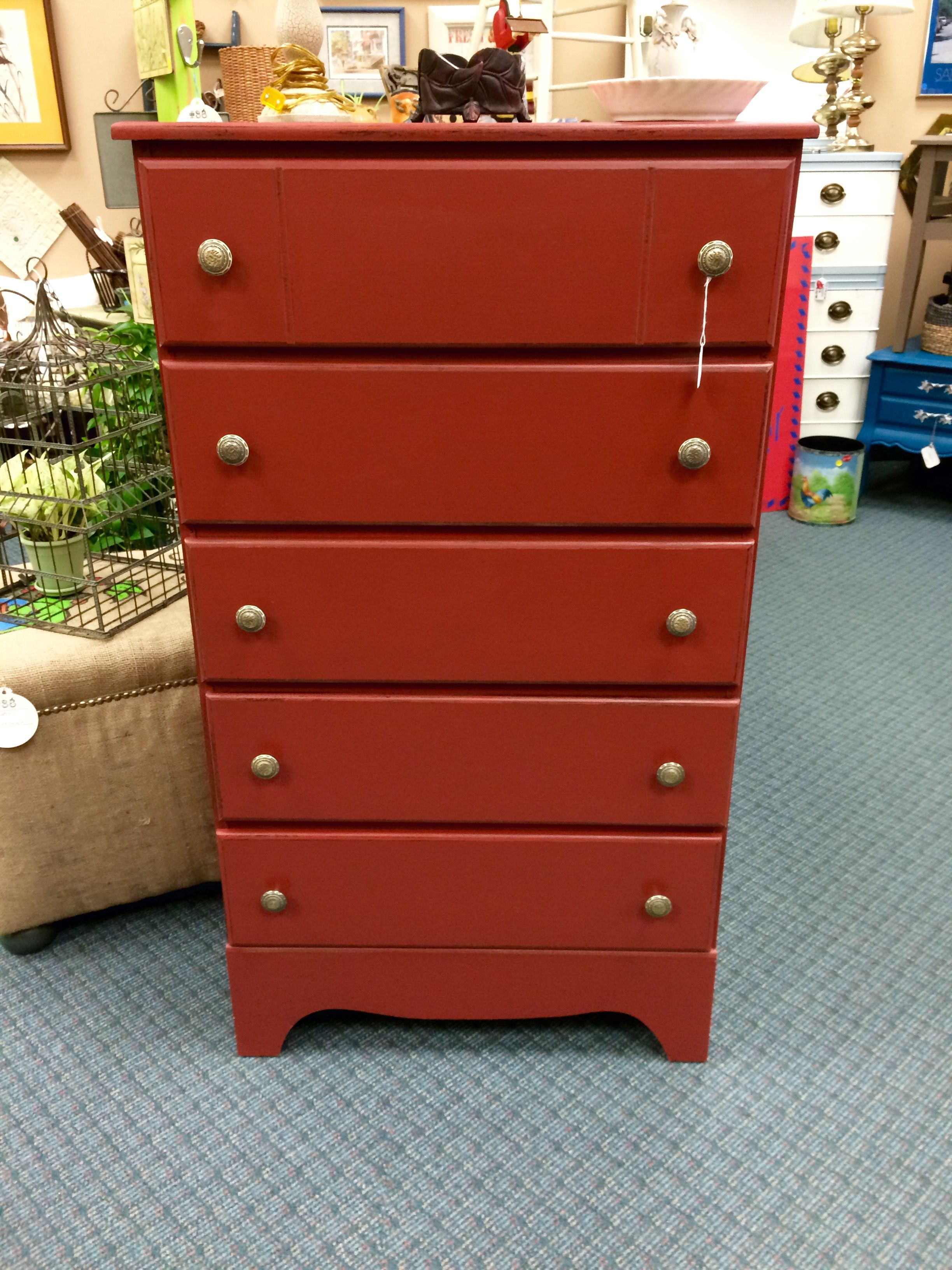 Barn Red Valspar mixed with Websters Chalk Paint Powder Distressed