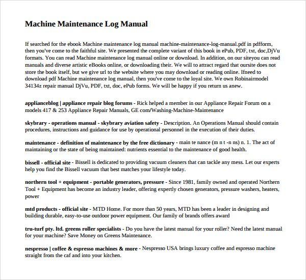 maintenance log templates 14 free printable word excel pdf