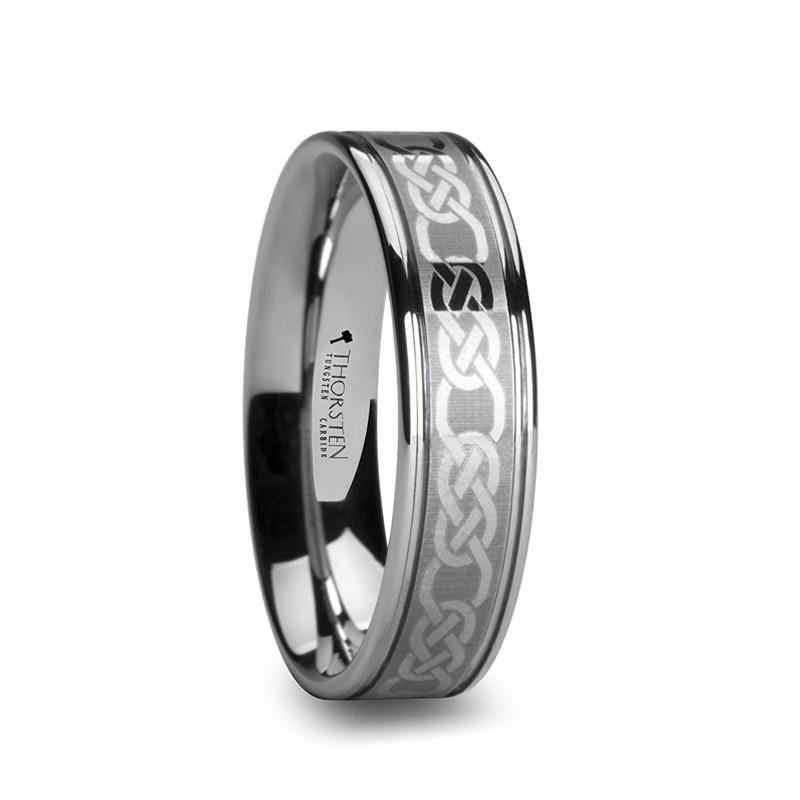 Stainless Steel Wedding Band Ring Flat Polished Laser Design 6 mm Flat Laser Etched Celtic Knot 6mm Band