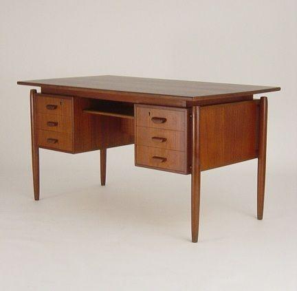 Mid Century Danish Modern Teak Desk Floating Top Eames Era