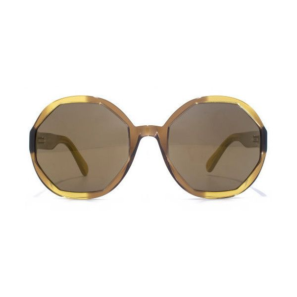 Marc Jacobs Hexagon Sunglasses (£190) ❤ liked on Polyvore featuring accessories, eyewear, sunglasses, brown, mirror sunglasses, mirror lens sunglasses, brown round sunglasses, round mirrored sunglasses and mirrored lens sunglasses