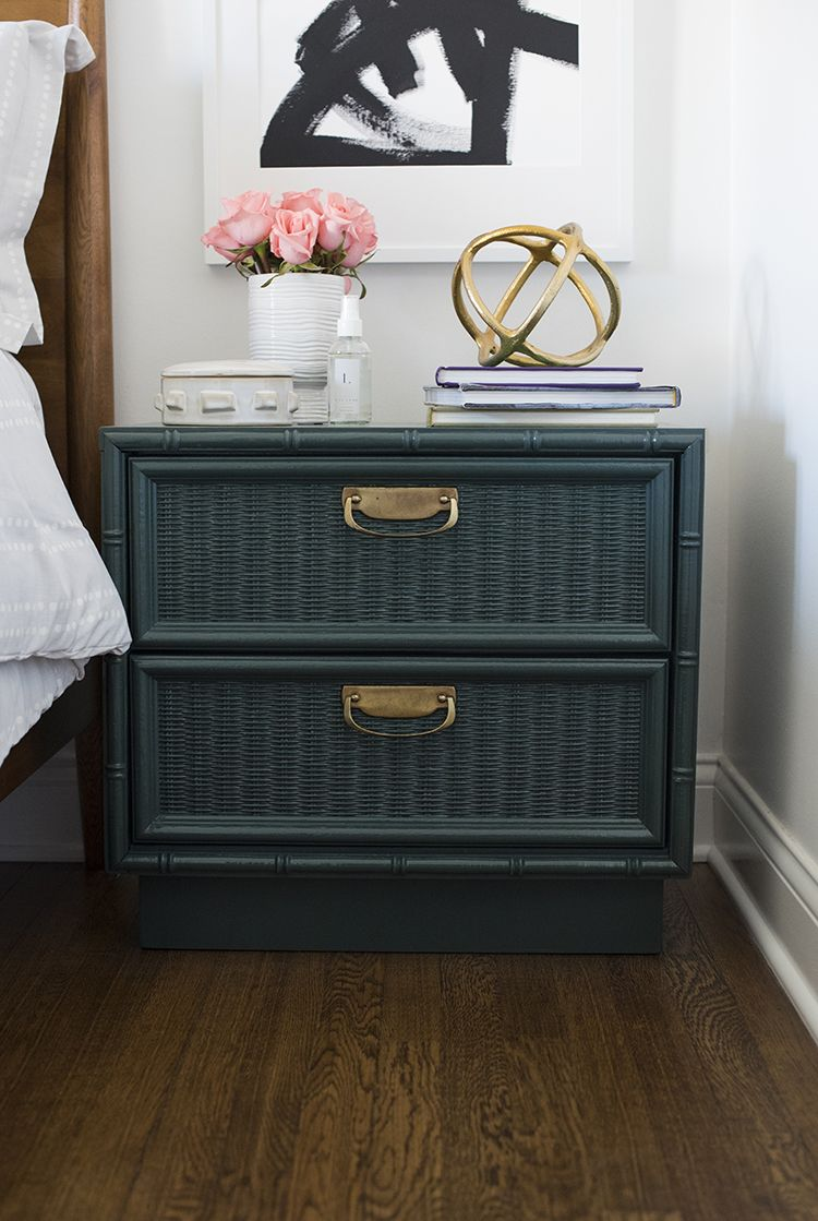 Nightstand Wicker Bedroom Furniture Indoor Dresser Painting