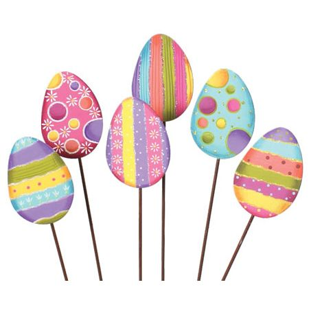 Bring A Festive Touch To The Garden With This Easter Egg Stake Set! Quality  Crafted, This Collection Spreads Festive Flair To Any Pea Patch In Need Of  A ...