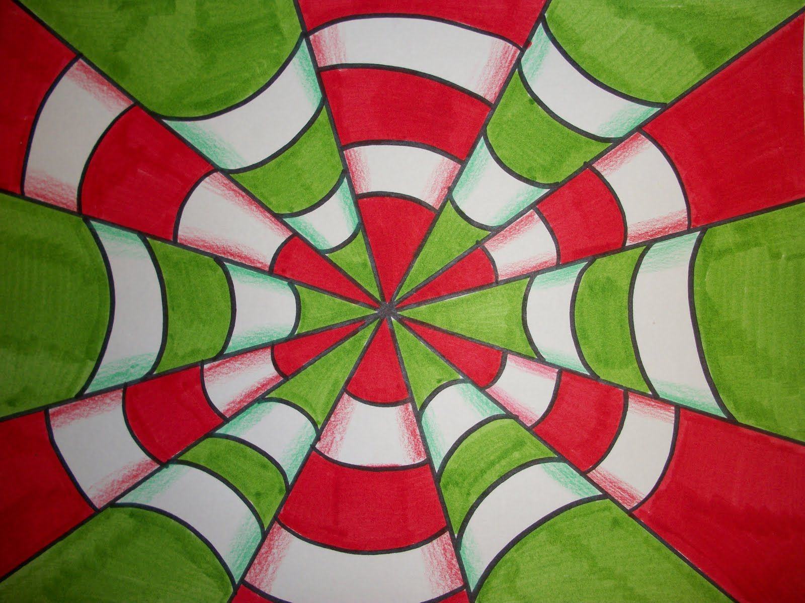 Curved Lines In Art : Draw triangles make curved lines happy faces color shading