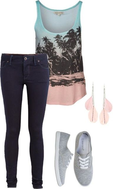 Women Latest Fashion: Billabong shirts, super skinny jeans and ballet fl...