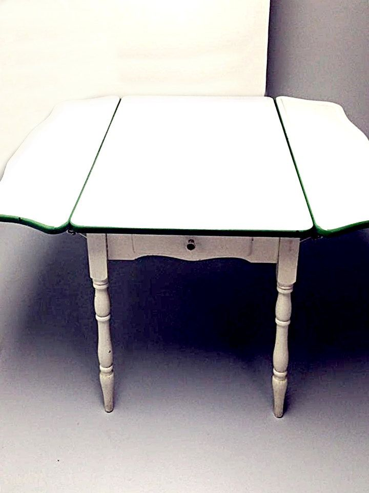 Antique Porcelain Top, 1930s Green Enamel Kitchen Table, Side Drop Leaf,  Drawer,