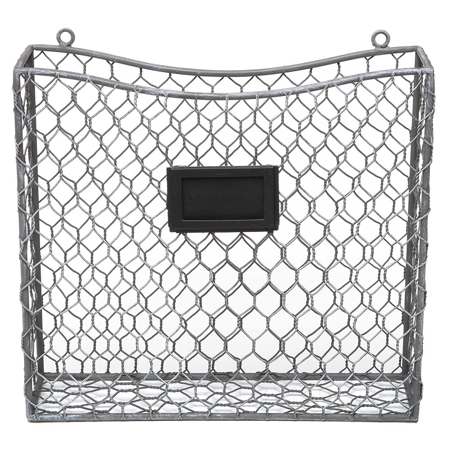 Amazon.com: Country Rustic Black Metal Wire Wall Mounted Magazine ...