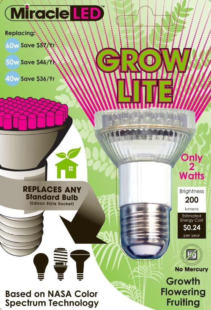 Miracle Led Indoor Seed Starting Plant Growing Spot Light Grow Bulb Red And Blue Very Small But Screws Right Into A Growing Bulbs Grow Lights Led Grow Lights