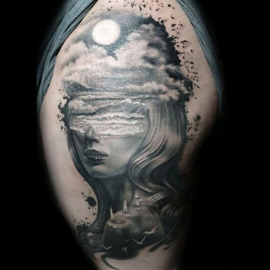 Phenomenal thigh piece by rain tattoo tattoos inked
