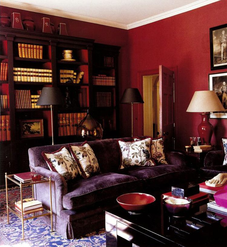 Plummy Dark Rooms Living Room With Purple Sofa And Deep Red Walls By Paolo Moschino House Garden Via Atticmag