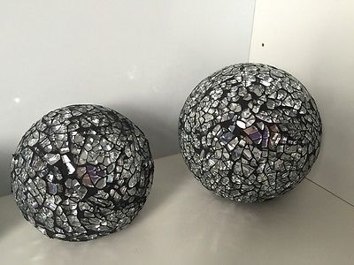 Black Decorative Balls Beauteous 3 Black Silver Crackle Mosaic Glass Decorative Balls Next Day Post Inspiration Design