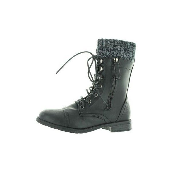 Forever Link Womens Justina 58 Sweater Cuff Combat Boots 42