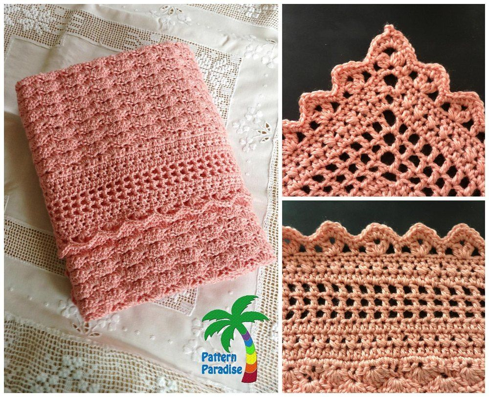 This blanket is made with rows of shells and finished with a beautifully  textured border. This is a very elegant baby blanket and would be perfect  for a ... a996632eb9b0