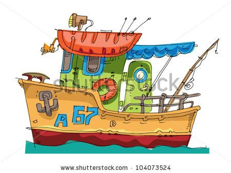 Fish Boat Cartoon Caricature Stock Vector Caricatures Obrazky Ilustrace