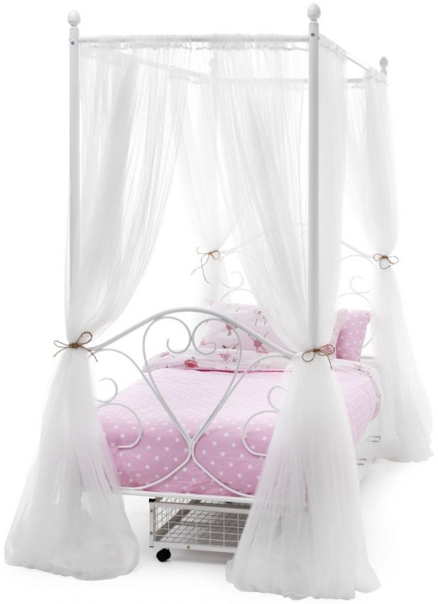 Single 4 Poster Bed Part - 27: Serene Isabelle White Gloss 4 Poster Metal Bed - 3ft Single