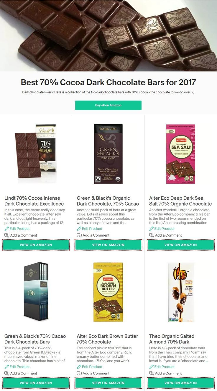 Top 6 Picks In Dark Chocolate Bars With 70 Cocoa For 2017