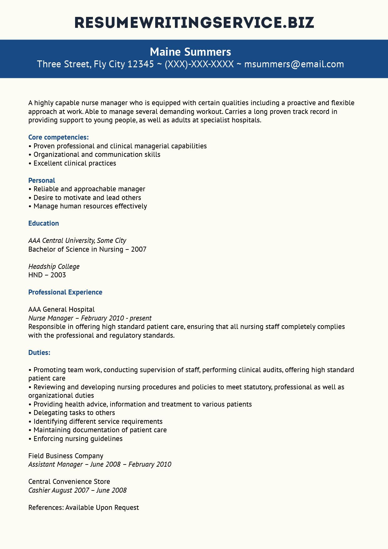 Here Is A Nice Example Of A Nurse Manager Resume If You Want To