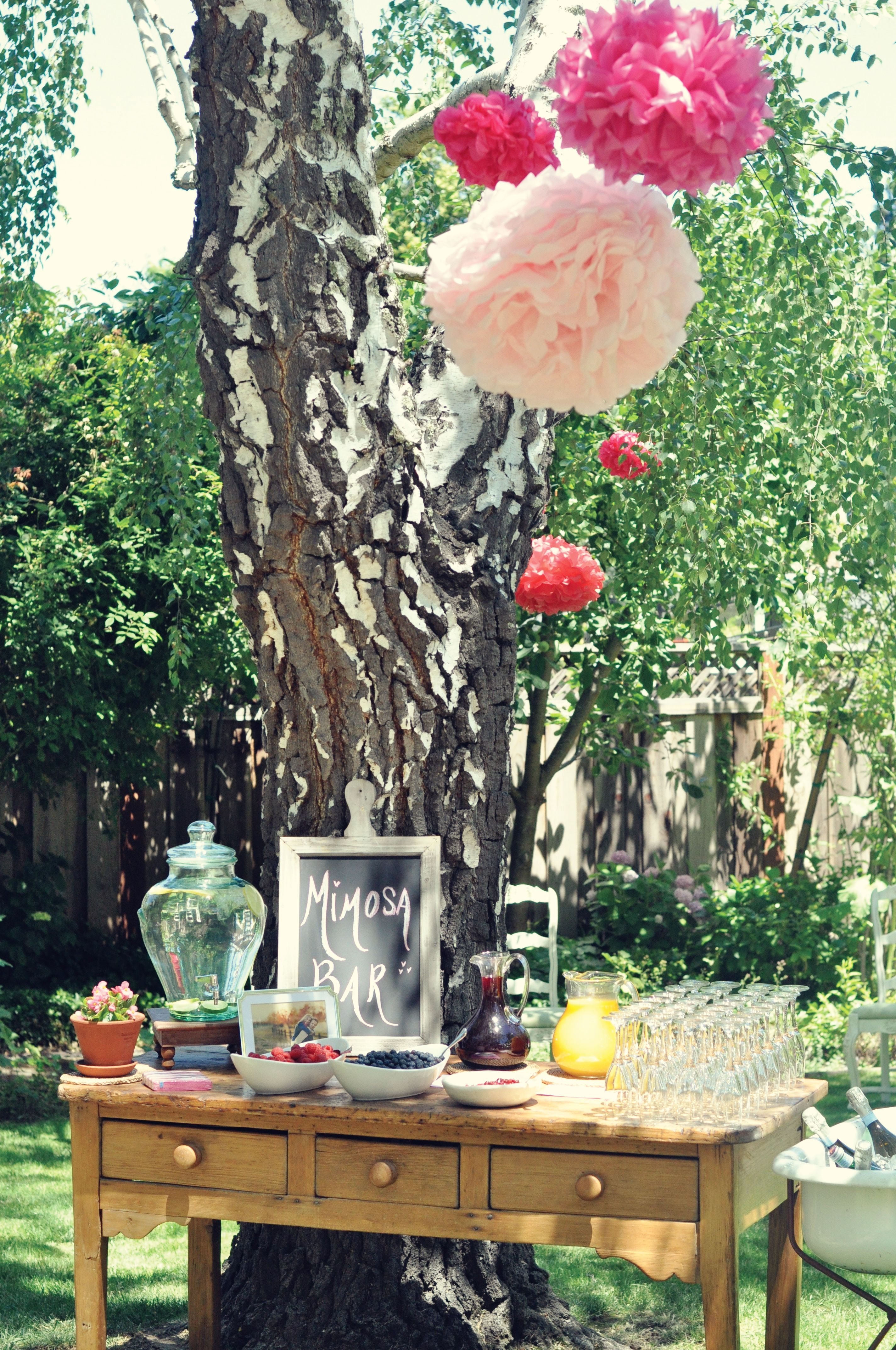 Mimosa Bar! Would switch out the Pink poof balls for different ...