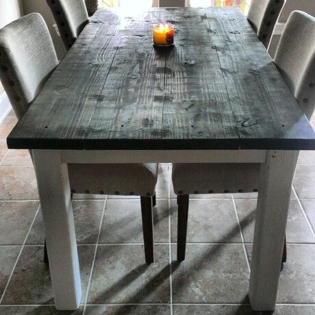 Our kitchen table! Reclaimed dark stained wood top ...