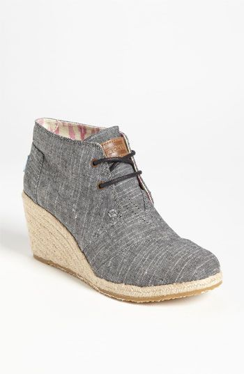 be86c014285 TOMS  Desert  Chambray Wedge Bootie