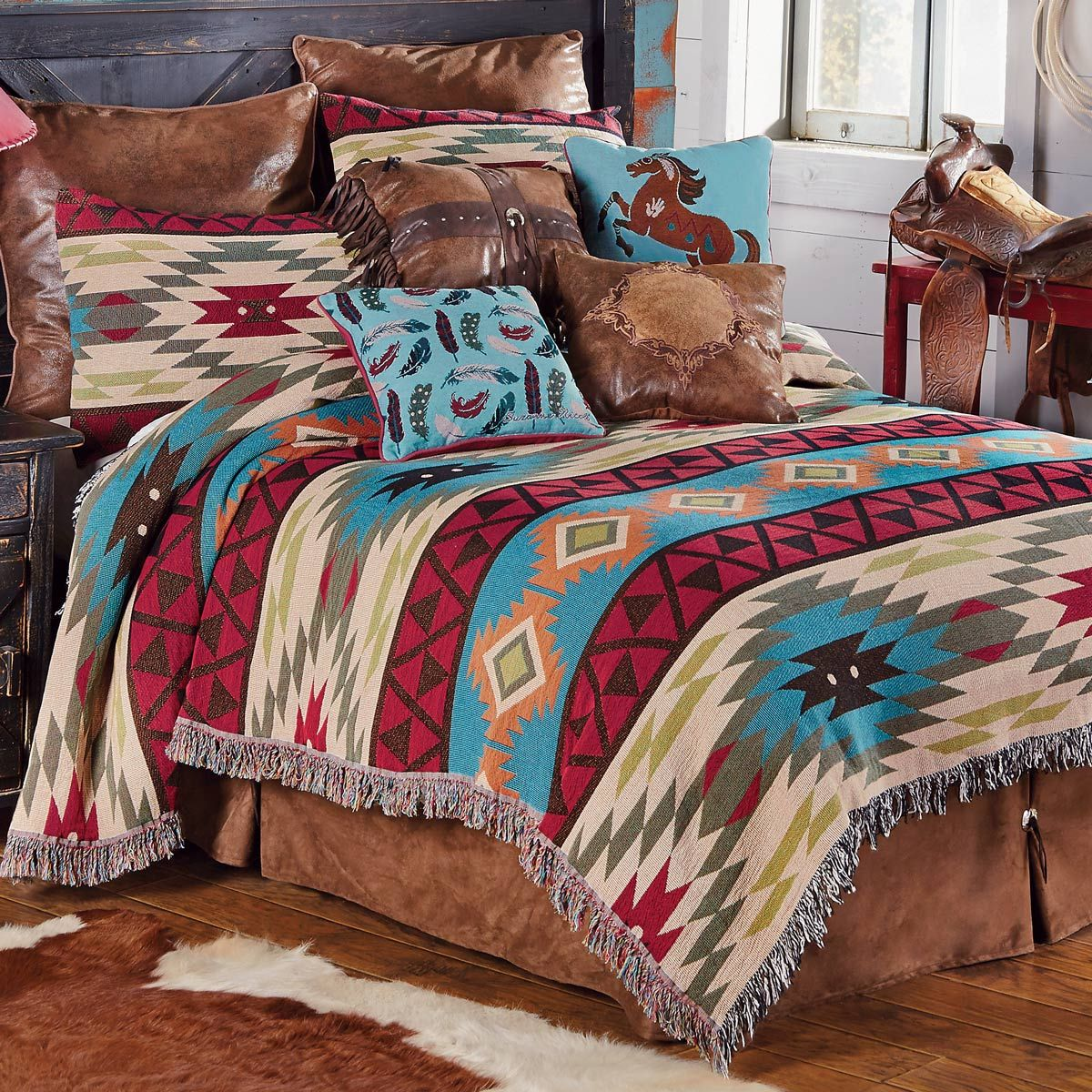 Southwest Expressions Tapestry Coverlet King Western Home Decor Southwest Bedroom Eclectic Bedroom