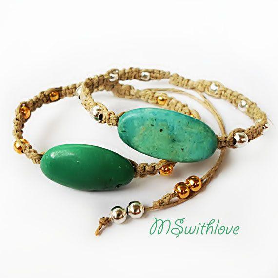 Turquoise  bracelet boho bracelet handmade bracelet by MSwithlove