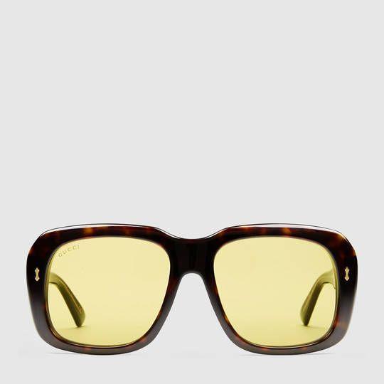 Gucci Rectangular-frame acetate sunglasses | Affluenzza.com Men\'s ...