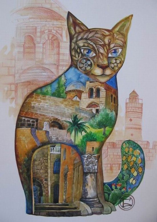 Extremely ingenious and beautiful, cats painted by Oxana Zaika - ego-alterego.com