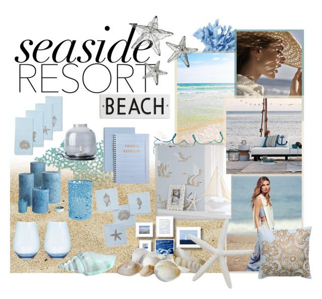 """""""#seasideresort"""" by lillyluvs ❤ liked on Polyvore featuring interior, interiors, interior design, home, home decor, interior decorating, INC International Concepts, Wedgwood, Sur La Table and WALL"""