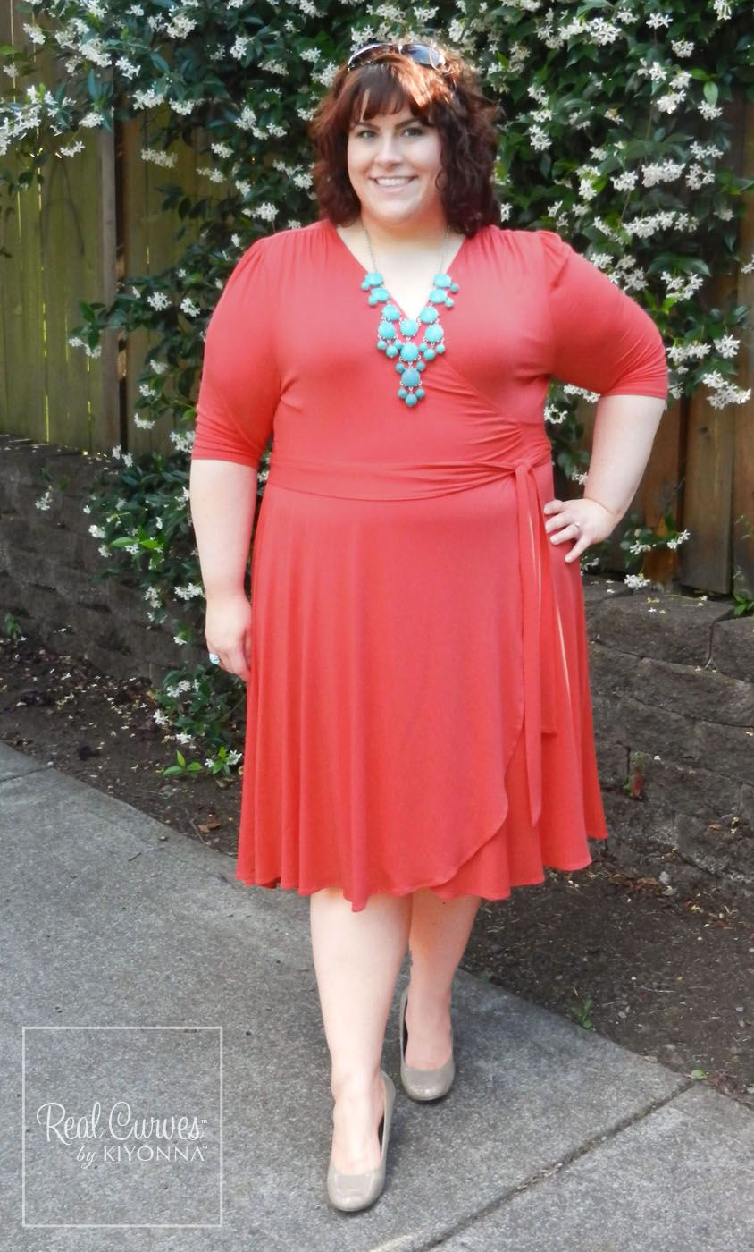 "9d808df2a9 Blogger  Hailey  Discourse of a Divine Diva  (5 9"") looks picture perfect  with her summery look. She paired our plus size coral Winona Hi-Lo Wrap  Dress with ..."