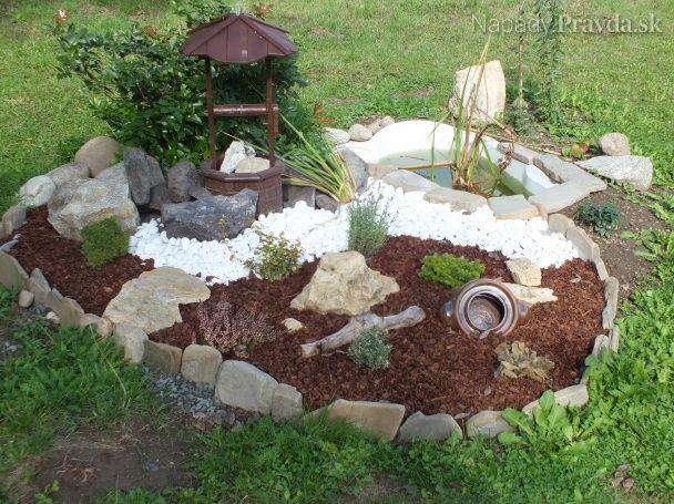 Skalka a jazierko na záhrade