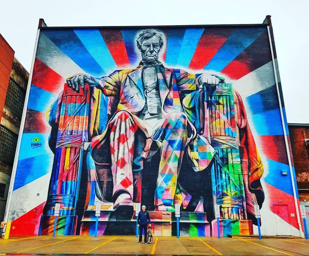 Abe Lincoln By Kobra In Lexington Ky Murals Street Art Street Art Best Street Art